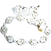 Vintage Miriam Haskell Signed White Shell Necklace & Earrings