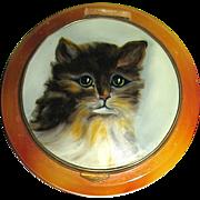 Vintage Lucite Compact w Enameled Cat Portrait - Red Tag Sale Item