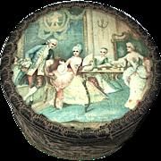 French Antique Powder Box—Aristocratic Scene Under Glass