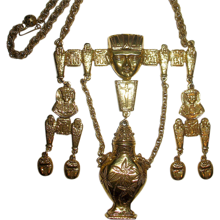 Amazing Egyptian Revival Designer Signed Symbolic Necklace--22 in.