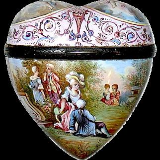 19th C. Large Heart Shaped  Sterling Enamel VINAIGRETTE - Perfume Bottle Related
