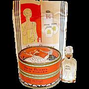 Vintage Richard Hudnut Art Deco Powder Box, Mini, Advertisement in Outer Box