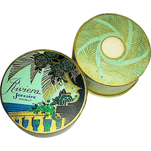"Gorgeous French 30's Riviera"" Face Powder and Mini, Outer Box"