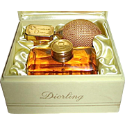 "Rare 60's ""Diorling"" Plush Boxed Set - French Crystal Bottle w ""CD"" Marked Atomizer"
