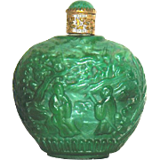 Original Czech Ginger Jar Shaped Malachite Perfume Dauber Bottle - Red Tag Sale Item