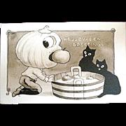 Pristine Wall Signed Gibson Art Co. Postcard--JOL & Black Cats