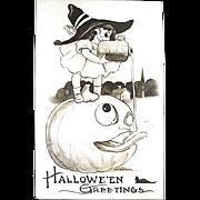 Pristine Gibson Art Co. Fantasy Halloween Postcard--Girl and JOL