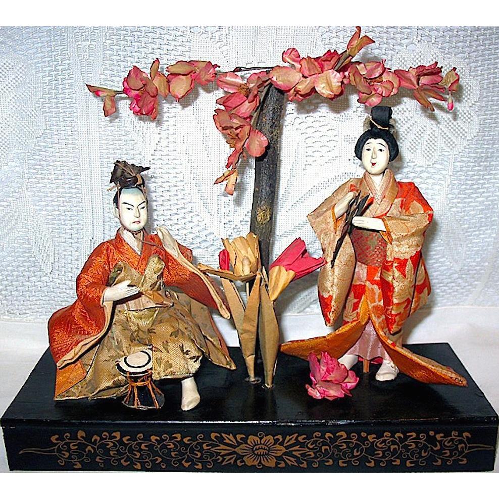 Japanese Gofun Empress and Emperor Dolls, Meiji Period