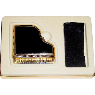 Gorgeous Vintage Figural Grand Piano Powder Compact, MIBB