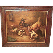 Unsigned George Armfield Oil Painting, Orig. Frame—Mischievous Terriers
