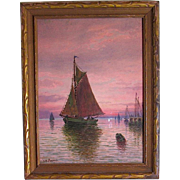William Haskell Impressionism Illuminated Ocean Sunset Painting