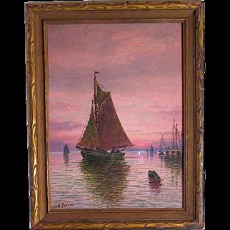 William Haskell Impressionism Illuminated Ocean Sunset Painting