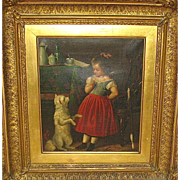 Signed 19th Century Oil on Canvas German Painting—Girl Teaching Tricks to Dog