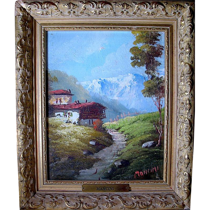 Carlo Mancini Late 19th Century Listed Italian Artist - Mountain Scene w Cabin Oil Painting