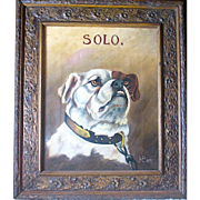 "Artist Signed 1897 Oil Painting of a Bulldog Named ""Solo"""