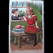 HTF Pristine German Christmas Postcard—Edwardian Era Children and Cat