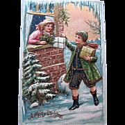 HTF Pristine German Christmas Postcard—Edwardian Children—Gilt Galore