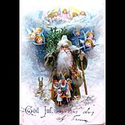 Very Rare Swedish Old World Santa Claus Postcard