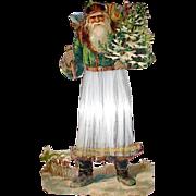 Large Antique Embossed Die Cut Santa Claus w Spun Glass Robe Ornament