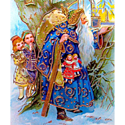 Exceptional German GEL Postcard—Father Christmas and Children