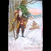 E.L German Series Christmas Postcard—Early Santa Claus