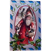 Old World Santa Claus Silver Decorated 1908 Christmas Postcard (2 of 2 in same series)