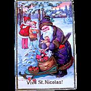 "Beautiful GEL ""Vive St. Nicolas"" Christmas Postcard"