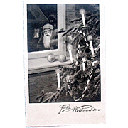 Early Black & White Christmas Postcard—Santa, Paper Chain Decorated Tree