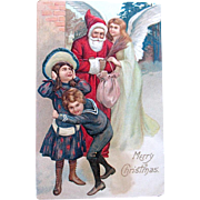 Undivided Christmas Postcard—Santa Claus, Angel and Excited Children
