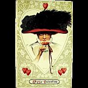 Gibson Girl Sips Wine--Vintage Valentine Postcard