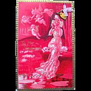 "Rare Tuck and Sons ""IDYLLS"" Series Valentine Postcard w Gold Heart Lock w Key"