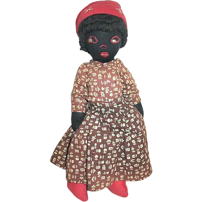 Early 20th Century Black Cloth Doll, Embroidered Features, Curly Black Yarn Hair