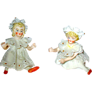 "Tiny German All Bisque ""Sisters"" Piano Babies — Very Delicate —Beautiful — Dresden Lace"