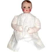 "AM ""696-2"" Repainted Bisque Baby Head on Vintage Fleece Body"