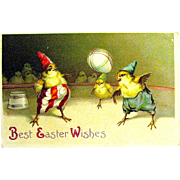 Clapsaddle Humanized Dressed Chick Clowns Easter Postcard