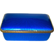 Gorgeous Vintage Blue Guilloche Enamel Box--PERFECT