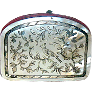 Miniature 1800's Mother-of-Pearl Purse w Oriental Silver Design