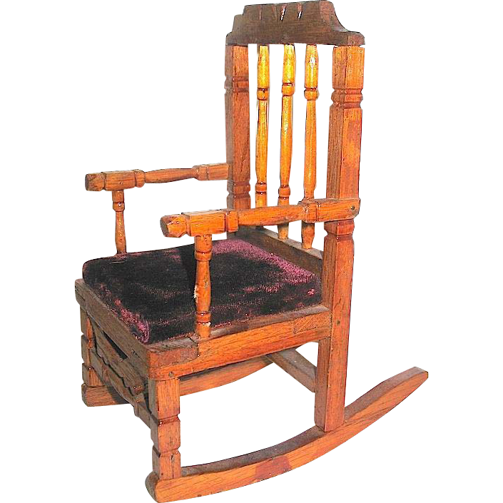 Large Antique German Dollhouse Upholstered Rocking Chair