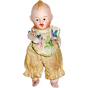 Tiny All Bisque Baby Dollhouse Doll, Orig. Clothes & Bib