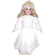"Gorgeous FRENCH 24"" Doll, Mohair Wig, Amazing Dress, Hand Embroidered 19th C. Apron, Antique Shoes"