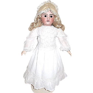 """Gorgeous Antique  French 24"""" Doll — Whitework Dress and Antique Shoes"""
