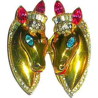 "Stunning Bright Gold Sterling A/O Rhinestone,""Thoroughbreds"" Horses Coro Craft Duette"