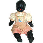 German Black Bisque Doll, Bisque Arms & Legs, Cloth Body, Original Playsuit