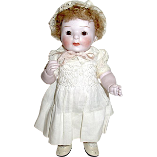 "Rare 8"" All Bisque German Doll, Pale Bisque w Slight Pink Caste, Orig. Mohair Wig"