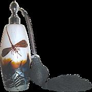 Rare Vintage Marcel Franck Cameo Cut Perfume Atomizer -- Beautiful Iridescent Nature Scene