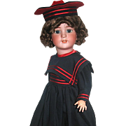 Simon Halbig 550 Doll w Rare Gimbel Bros. Marked Body, Beautiful Sailor Costume