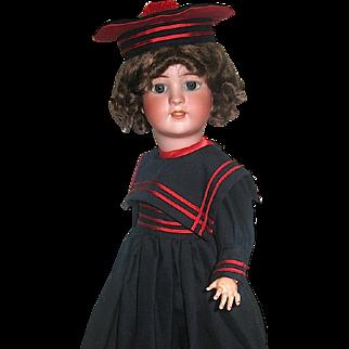 Simon Halbig 550 Doll w Rare Gimbel Bros. Marked Body, Beautiful Sailor Costume