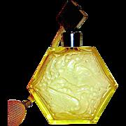 Citrine Bohemian Czech Perfume Atomizer w Nouveau Turtle Doves