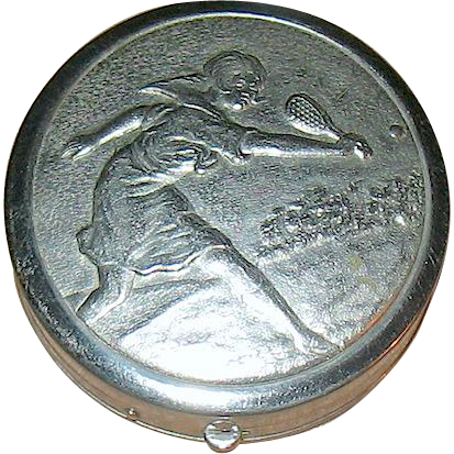 Rare 20's Volupte Vanity Compact w Art Deco Lady Playing Tennis Design