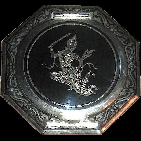 Siam Sterling Silver Niello Compact w Goddess Phra Mae Thorani Figure